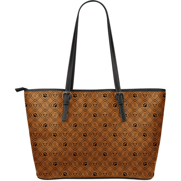 Brown Luxury Paw Design Large Leather Tote Bag