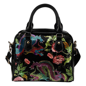 Asian Dragon Faux Embroidery Shoulder Handbag