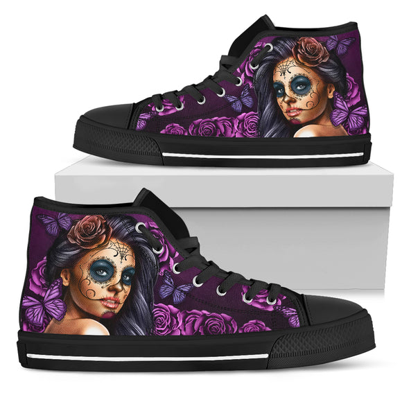 Violet Skull Women's High Top Shoes
