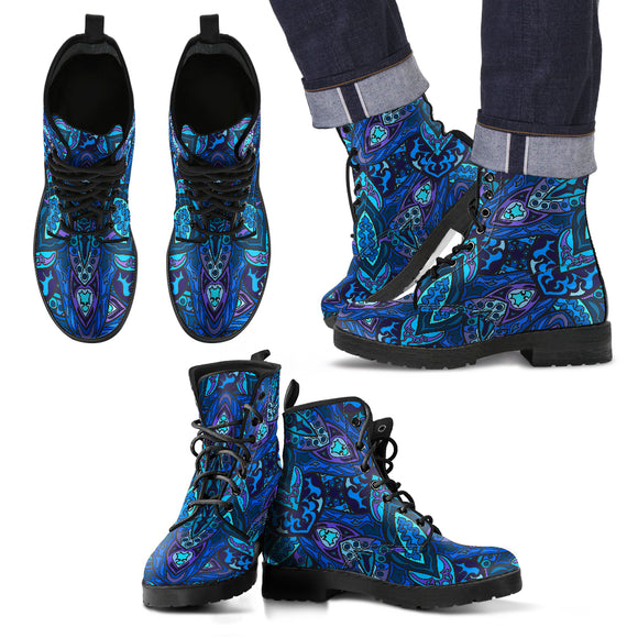 Dark Blue Night Sky Men's Leather Boots