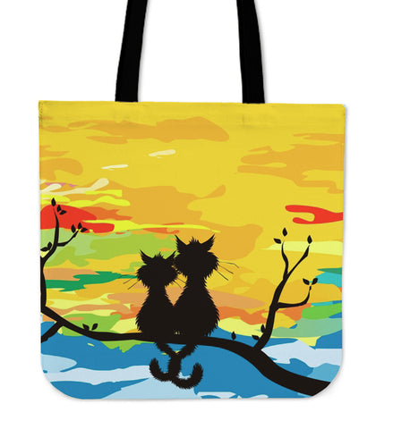 Sunset Cats In Love Cloth Tote Bag
