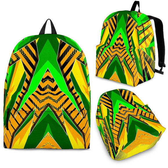 Racing Style Wild Yellow & Green Colors Vibe Backpack