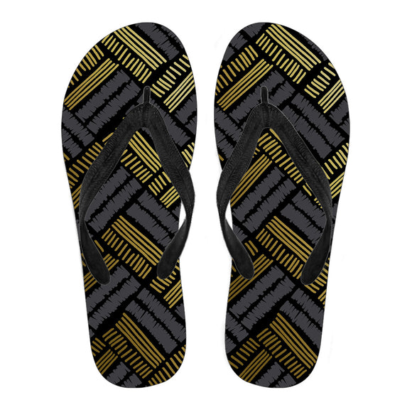 Glittering Gold Love Men's Flip Flops