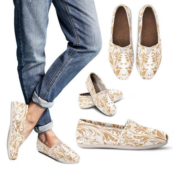 White And Gold Women's Casual Shoes
