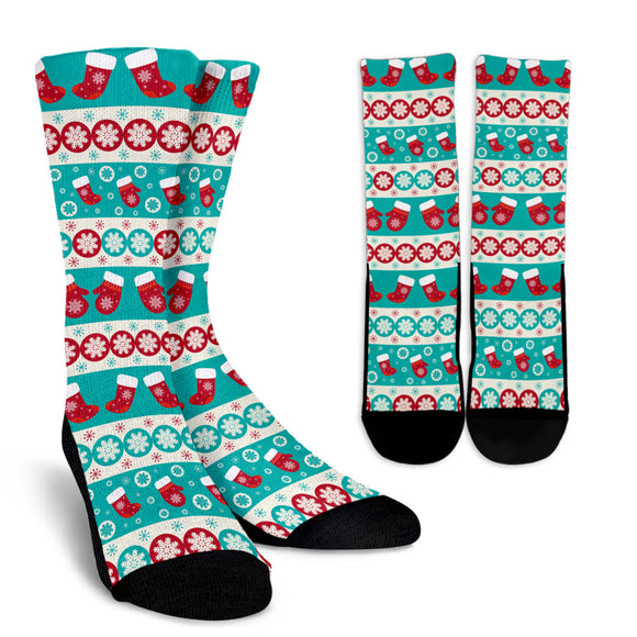 Christmas Light Blue Good Vibes Only Crew Socks