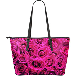 Rose Blossoms Large Leather Tote Bag