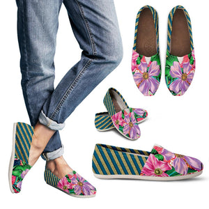 Glittering Flowers With Golden Stripes Women's Casual Shoes