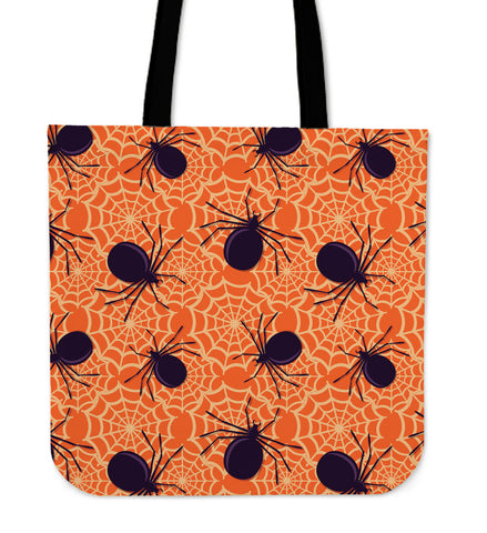 Halloween Orange Spider Cloth Tote Bag