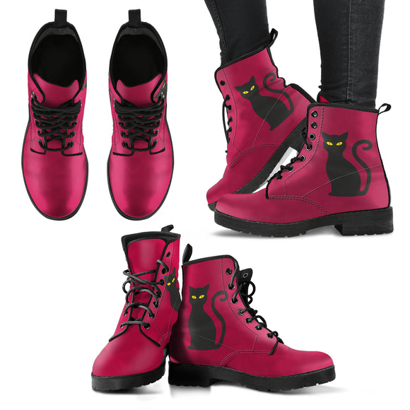 Deep Pink Cat Handcrafted Boots