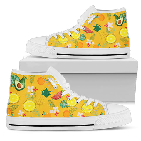 Yellow Fruits Parade Women's High Top Shoes