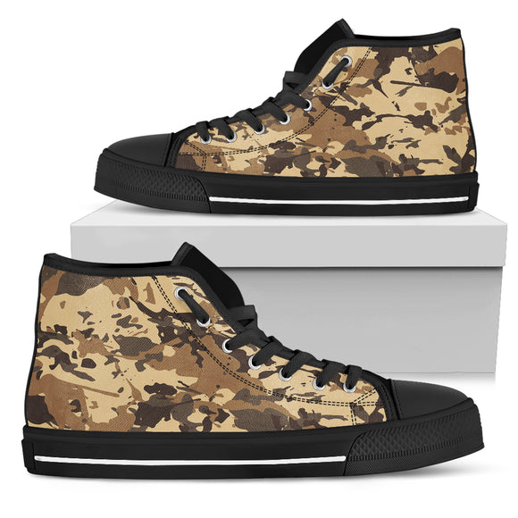 Brown Camouflage Women's High Top Shoes