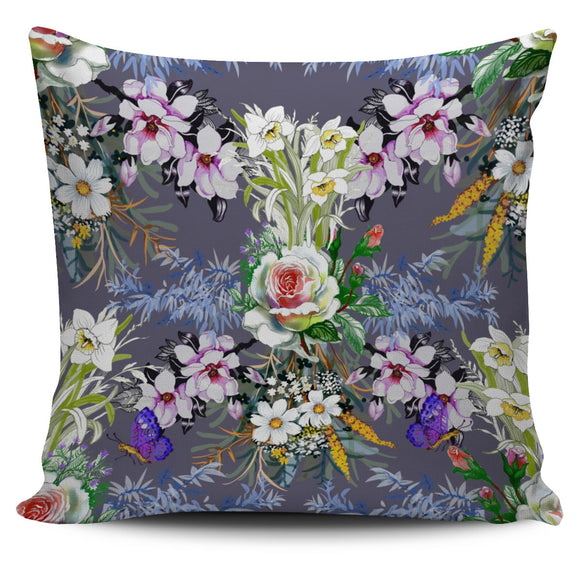 Roses Chamomile With Leaf And Butterfly Pillow Cover