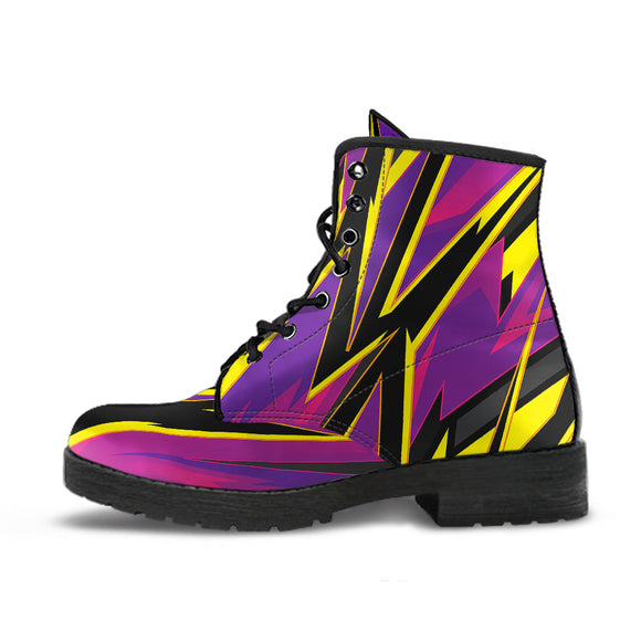 Racing Style Pink & Yellow Unisex Leather Boots