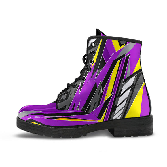 Racing Style Violet & Yellow Vibes Leather Boots