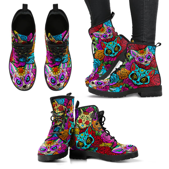 Lovely Skull Cats Handcrafted Boots