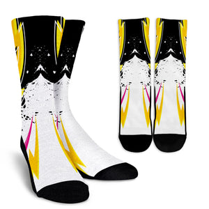 Racing Style Yellow & Pink Stripes Vibes Crew Socks