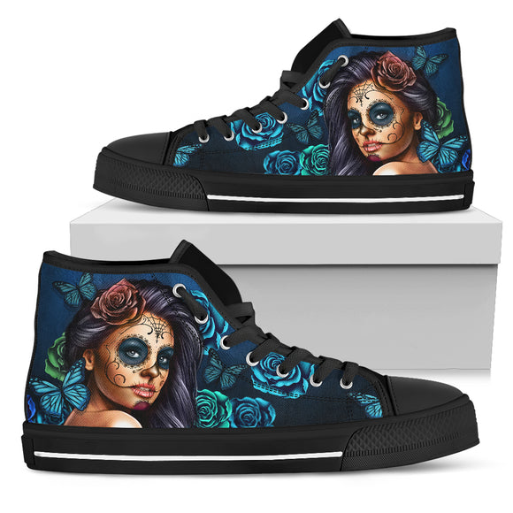 Turquoise Skull Women's High Top Shoes