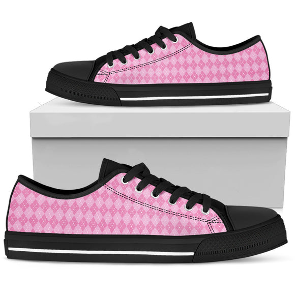 Pink Argyle Tartan Women's Low Top Shoes