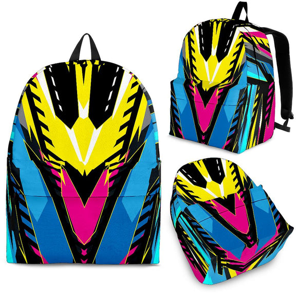 Racing Style Pink & Yellow Colorful Vibes Backpack