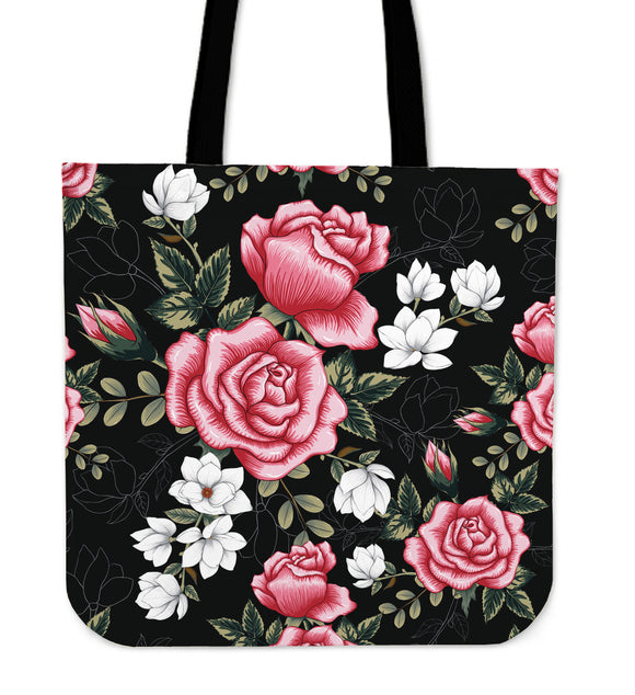 Pink Roses & White Flowers Cloth Tote Bag