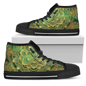 Glamour Green Mandala Women's High Top Shoes