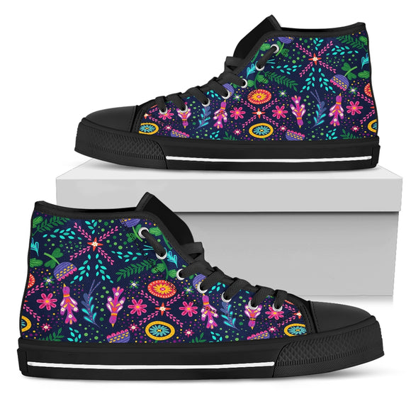 Birds And Flowers Love High Top Shoes