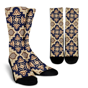 Ornamental Blue Love Crew Socks