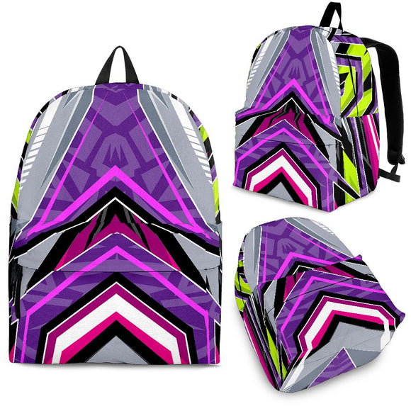 Racing Neon Style Violet & Grey Vibes Backpack