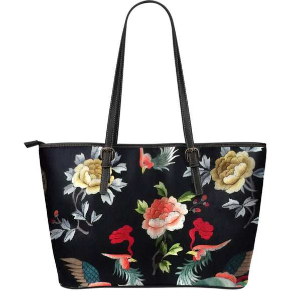 Romantic Flowery Vintage Birds Leather Tote Bag