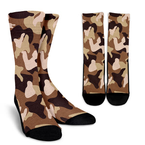 Simply Brown Camouflage Crew Socks