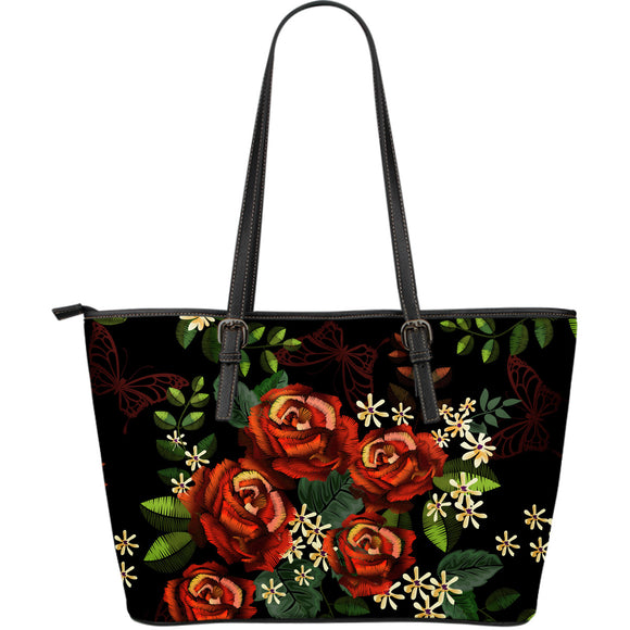 Red Roses Garden Large Leather Tote Bag
