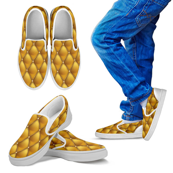 Exclusive Golden Pattern Kid's Slip Ons