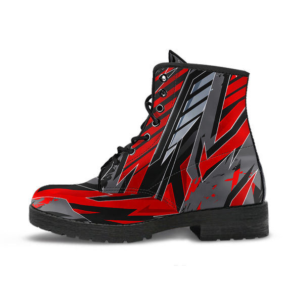 Racing Style Red & Grey Unisex Leather Boots