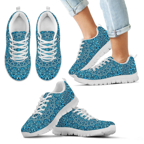 Sky Blue Mandala Kid's Sneakers