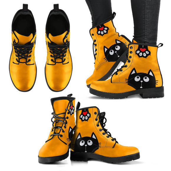 Orange Funny Cat Handcrafted Boots