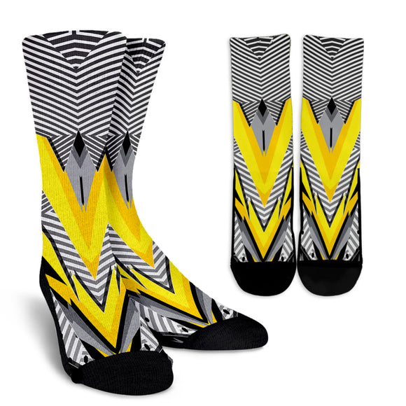 Racing Style Grey & Yellow Stripes Vibes Crew Socks