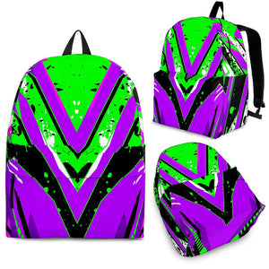 Racing Style Neon Green & Violet Backpack