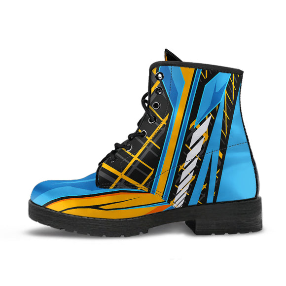 Racing Style Orange & Blue 2 Unisex Leather Boots