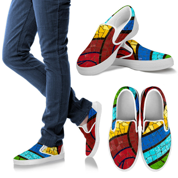 Rainbow Tile Women's Slip Ons