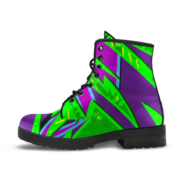 Racing Style Neon Green & Purple 2 Vibes Leather Boots