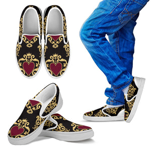 Luxury Royal Hearts Kid's Slip Ons