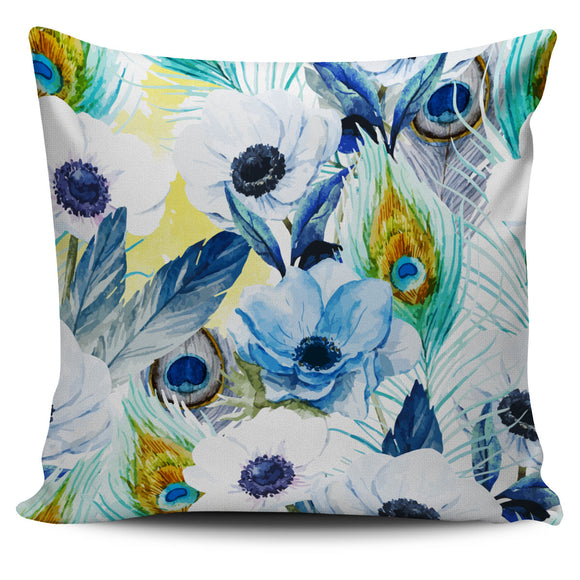 White Peacock Watercolor Pillow Cover