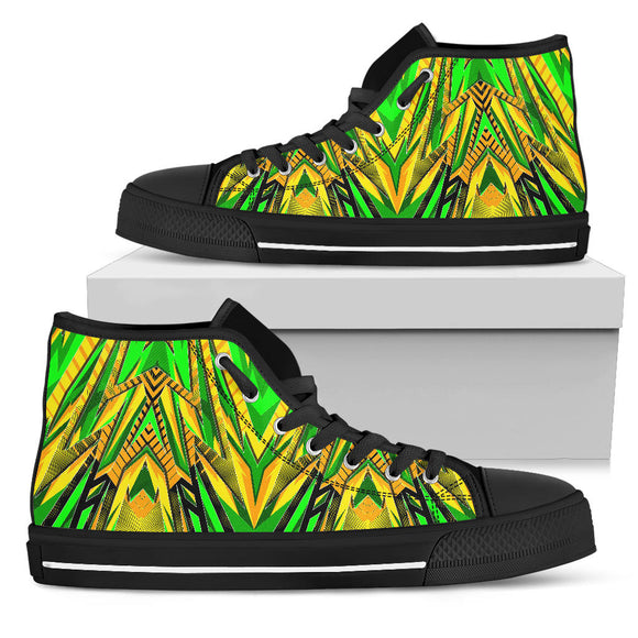 Racing Brazil Style Neon Green & Yellow Vibes High Top Shoes