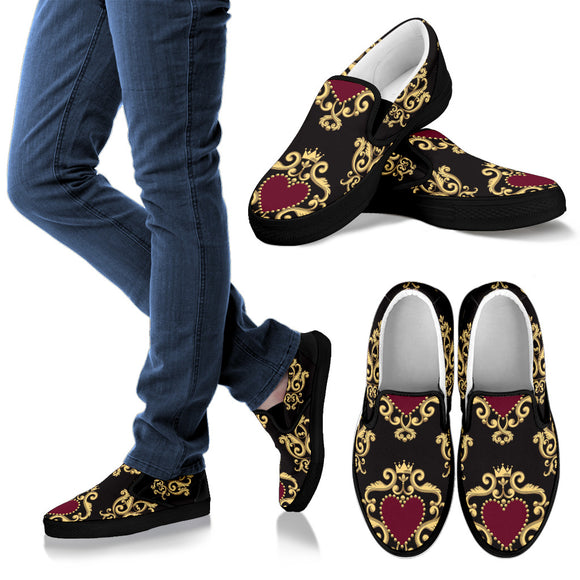 Luxury Royal Hearts Women's Slip Ons