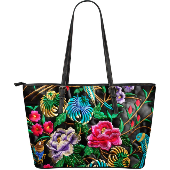 Romantic Flowery Blue Bird Leather Tote Bag
