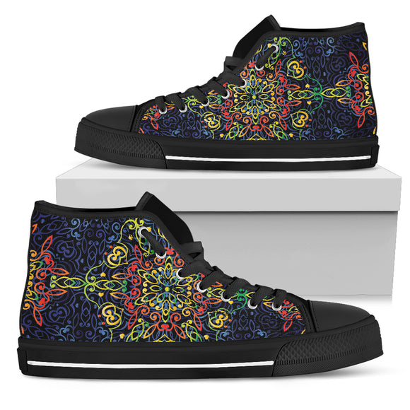Glowing Rasta Mandala Women's High Top Shoes