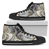 Luxury Marble Grey Design With Gold Stripes High Top Shoe