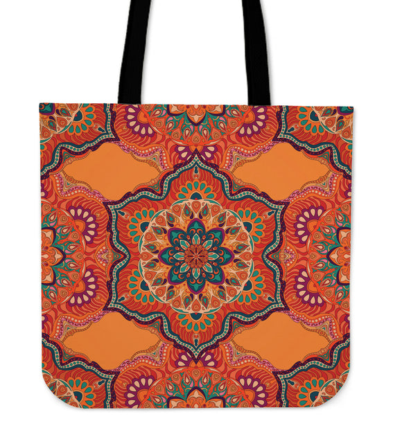 Orange Mandala Style Cloth Tote Bag