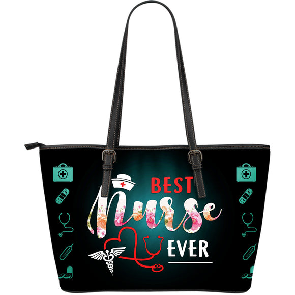 Best Nurse Ever Large Leather Tote Bag