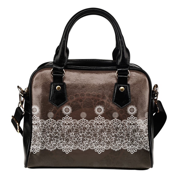 Brown Lace Design Shoulder Handbag